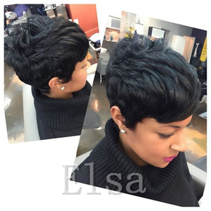 Wholesale short bang hair resale online - Lace front human hair wigs Cheap Pixie Cut short glueless wig with bangs for african americans Best brazilian hair wigs