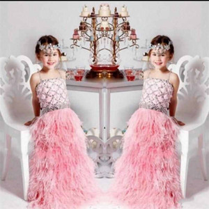 Wholesale Luxury Feather Pink Flower Girls Dresses Spaghetti Beaded Crystal Cute Kids Party Gown Girls Pageant Gowns Custom Made
