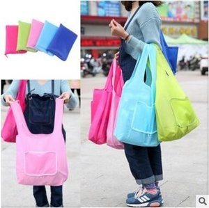 Wholesale Portable Folding Waterproof Shopping Bags Oxford Cloth Storage Zipper handbag Reusable Eco Friendly Tote pouch Environment Safe Go Green DHL