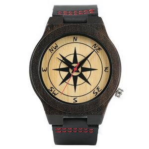 Men Watches Dark Tone Sandalwood Compass Painting Dial Modern Nature Wooden Wristwatches Sofe Real Leather Sport Bamboo Clock