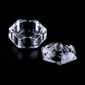 Wholesale Nail Art Acrylic Crystal Glass Dappen Dish Bowl Cup with Cap Liquid Glitter Powder Caviar Nail Styling Tools