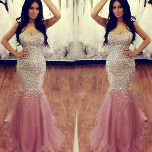 2017 Sweetheart Crystal Beaded Sequin Evening Dresses Luxury Mermaid Tulle Satin Floor Length Plus Size Skin Pink Prom Dresses Pageant Gown on Sale
