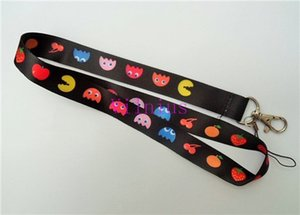 Wholesale Hot SALE NEW Pacman Fruity Game Neck Lanyard Strap Cell Mobile Phone ID Card Key chain
