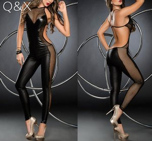 Wholesale MR14 sexy lingerie hot women Matt black patent leather lace high neck sexy costumes hollow exposed breasts erotic lingerie