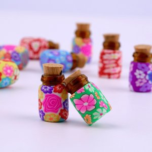 Wholesale Mini Glass Polymer Clay Bottles Containers Vials With Corks new arrival Can put in some powder or Beads Jewellery