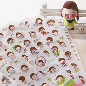 Wholesale 6sheets set cute creative transparent PVC stickers DIY diary photo album wall decorative adhesive stickers