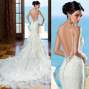 Wholesale 2019 Beautiful Backless Wedding Dress Kitty Chen Sweetheart Lace Mermaid Gown With Beaded Straps Low Back With Ruffled Skirt Detail