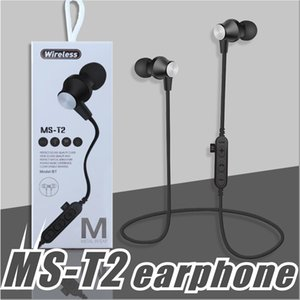 Wholesale MS T2 Bluetooth Headphones Sweatproof Sports Earphones Wireless Headset TF Card Magnetic attraction Earbuds for iphone X plus Samsung LG