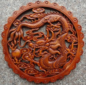 Delicate Round Chinese Traditional Handicrafts Classical Camphor Wood Wall Hanging - Dragon