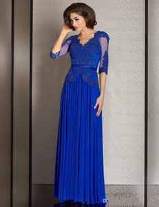 Wholesale 2017 Royal blue Chiffon Mother of the Bride Dresses sexy Deep V-Back Plus Size Prom Gowns lace applique Half Sleeve Sash See Through