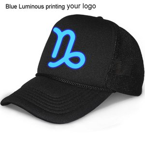 Wholesale trucker cap printing resale online - Luminous cap Free printing logo high quality adult trucker hats black snapbacks Curved brim Ball caps Unisex Mesh baseball hats adjust size