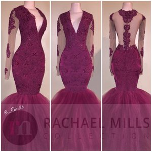 Wholesale African Burgundy Mermaid Party Dresses Long Sleeve Deep V Neck Lace Appliques Sheer Illusion Bodice Sexy Backless Formal Dress Prom Gowns