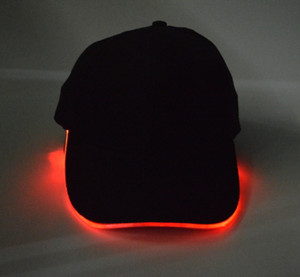 Wholesale Eco Friendly LED Light Hat Glow Hat Black Cotton for Adult Baseball Caps Luminous Adjustment Size Xmas Party Peaked Casquette Batteries