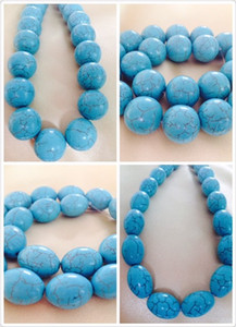Wholesale Wholesale Large Round Oval Natural Green Blue Turquoise Spacer Gem Stone Loose Beads Perfect For Women Jewlery Free Shipping