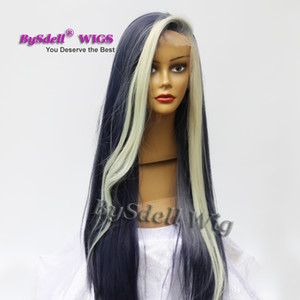 Wholesale African American Web Celebrity Anchor Smoke Ash Denim Blue Color Hair Wig Heat Resistant Lace Front Wigs for Black Women
