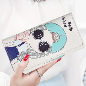 Wholesale YOUYOU MOUSE Korean Style Cartoon Women Wallets Long Hasp Zip Momey Purse PU Leather Ladies Simple Card Holder Coin Pocket Bag