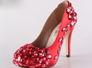 Wholesale platform custom made diamond pearl red color bride wedding party dress high heel women lady shoe