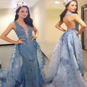 Wholesale Glitter Zuhair Murad Evening Dresses with Over Skirts Appliques Sheer Backless Beautiful Dubai Prom Dresses Latest Party Pageant Gowns