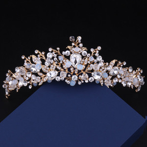 New Baroque Queen Colorful Bridal Crown Free Shipping High Quality Crystal Wedding Prom Party Tiara Hair Accessories Fair Maiden Headpieces