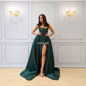 Wholesale Saudi Arabia Dark Green Evening Dresses Sexy Scoop Neckline Beading High Split Prom Dress Lady Formal Party Gowns robe de soiree