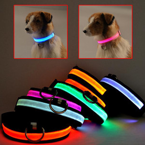 Wholesale Glow LED Dog Pet Cat Flashing Light Up Nylon Collar Night Safety Collars Supplies Products S M L XL Size b498