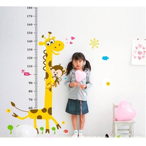 Wholesale height charts for wall resale online - Removable PVC Children Wall Stickers Large Cartoon Giraffe Height Growth Chart Decal For Kids Room Decoration