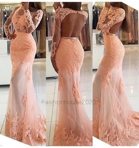 Wholesale Blush Pink Lace Mermaid Evening Dresses Sleeves Crew Neck Appliques Sexy Backless Formal Evening Gowns Long Sleeve Cheap Red Carpet Dress