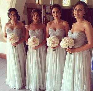 Wholesale Elegant Long Bridesmaid Dresses Lace Sequin A Line Sweetheart zipper Back Full Length Chiffon Bridesmaid Gowns Prom Wedding Guest Dress