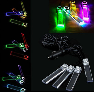 Wholesale 4 in V Car Auto Interior Glow LED Atmosphere Lights Floor Decoration Lamp Charger Cigarette Lighter Blue Multicolor Light