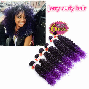 Wholesale crochet braids weave hair for sale - Group buy High quality synthetic weave hair extensions Jerry curly ombre brown kanekalon deep curly crochet purple braiding Hair for balck