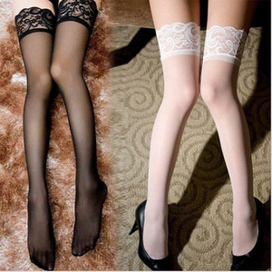 Wholesale 9 colors Sexy Black Lace Suspender Stockings Summer Girls Long Socks Over Knee Silk Stocking Thigh Highs Stockings Lace Stocking Top Solid