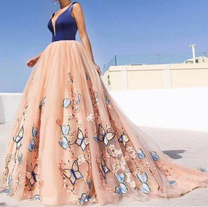 Wholesale Ball Gown Prom Dresses With Butterfly And Flowers 2020 Satin Top Tulle Spaghetti Backless Princess Deep V-Neck Evening Dresses Party Gown