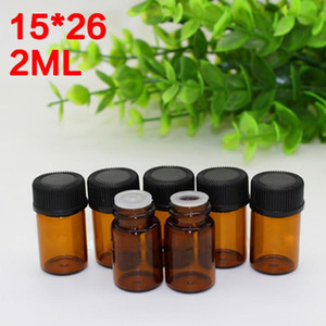 New product wholesale 2ml small glass vials sample dropper bottles 2ml Amber Glass Vial With black screw cap