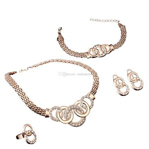 Amazing Jewelry Set 4 PCS Rhinestone Gold Necklace Earring Ring Bracelet Set Supertop C00585 FASH on Sale