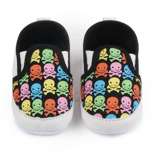 Wholesale TongYouYuan Print Skull Pattern Newborn Fashion Canvas Infant Toddler Boys Girls Kids Very Light Casual Soft Soled Loafers Shoe