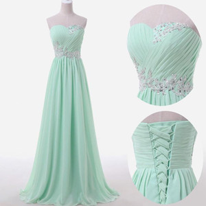 2018 Mint Bridesmaid Dresses Sweetheart Neckline pleats lace appliques beading sequins long chiffon bridesmaid dress cheap