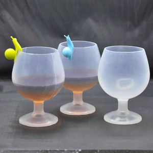 Wholesale Silicone Beer Cups Silicone Wine Glasses Unbreakable Collapsible Stemless Beer Whiskey Cocktail Cups Outdoor Camping Goblet OOA1929