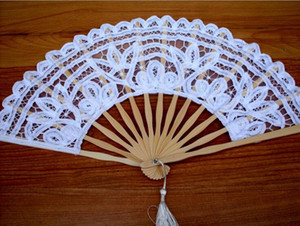 Wholesale Eco Friendly Arts Vintage Palace Style Handmade Ivory Battenburg lace Embroidery Wedding cm Fan Woman Hand Fan High Quality