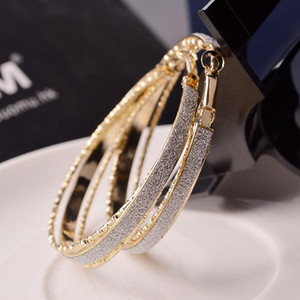 Wholesale Classic American Style Vintage Large Size Hoop Earrings Fashion Jewelry K Gold Filled Big Hoop Huggie Earrings Women Wedding Party Cheap