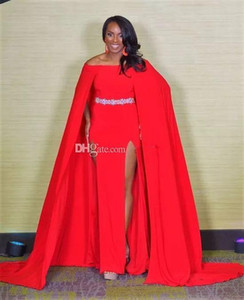 Wholesale Sexy Miss USA Formal Evening Gowns Red Off Shoulder A Line Beaded Belt Front Split with Cap Dresses Evening Wear Long Prom Gowns