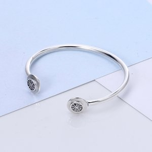 High Quality 100% 925 sterling silver 2017 new Fit Pandora Bracelet Bangle for beads Charm DIY Jewelry Open Bangle with Letter