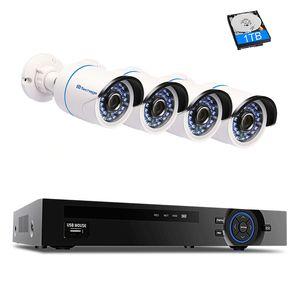 4CH 1080P POE NVR Security Camera CCTV System P2P IR Night Vision 4PCS 2.0MP Outdoor IP Camera Surveillance Kit APP View