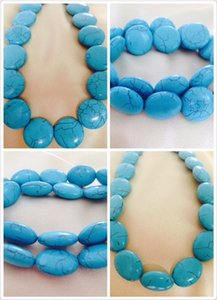 Wholesale Wholesale Top Quality Oblate Natural Green Turquoise Beads For Jewelry Making Bracelet Necklace Loose Turquoise Charm Spacer Beads