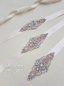 Handmade Rose Gold Rhinestones Appliques Wedding Belt Clear Crystal Sewing on Bridal Sashes Wedding Dresses Sashes Bridal Accessories T27