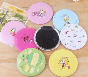 Wholesale Korea Cute mini Hand Mirror Aluminum Tin plate Cosmetic Compact Makeup Mirror Cartoon Romantic Childlike Wedding Gift