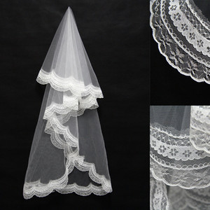Wholesale 2020 Cheapest In Stock m Length Wedding Veils Appliques Ivory White Two Layer Lace Wedding Accessories Bridal Veils Styles