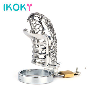 IKOKY Snake Totem Chastity Lock Belt Stainless Steel Penis Rings Male Chastity Device Cock Cage Sex Toys for Men Male Cock Rings