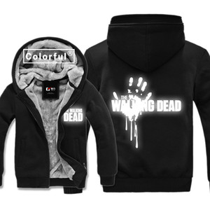 Reflective Costumes The Walking Dead Thickness Hoodies Adult Velvet Baseball Black Sweatshirts men Winter Jacket Coat With Hats