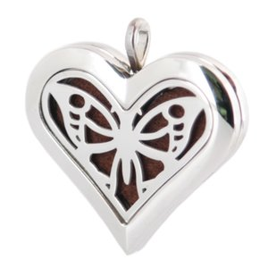 Wholesale Heart Big Butterfly mm Aromatherapy Essential Oil surgical Stainless Steel Perfume Diffuser Locket Necklace with chain and Felt pads