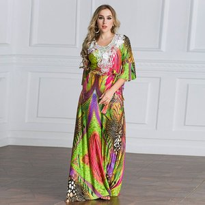 Wholesale New Design Plus Size Women Half Sleeve Maxi Dress Muslim Lace Abaya Dress with Belt Kaftan
